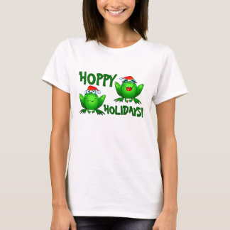 Hoppy Holidays Cartoon Frogs Shirt Green Text
