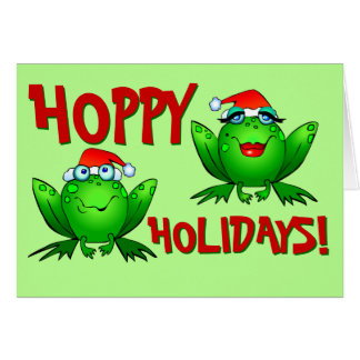 Hoppy Holidays Cartoon Green Frogs Red Letters Card