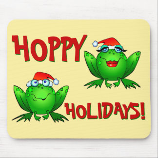 Hoppy Holidays Cartoon Green Frogs Red Letters Mouse Pad
