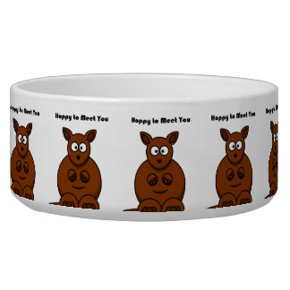 Hoppy to Meet You Kangaroo Cartoon Dog Food Bowls