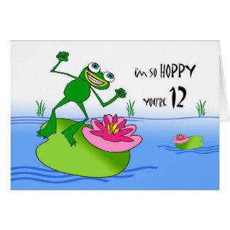 Hoppy Twelfth 12th Birthday, Funny Frog at Pond Card