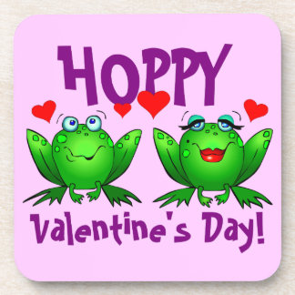 Hoppy Valentines Day Cartoon Happy Frogs Coasters