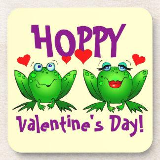 Hoppy Valentines Day Frogs Hearts Coasters