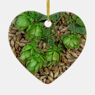 Hops and Malt Ceramic Heart Decoration