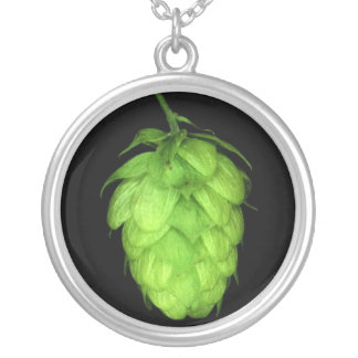 Hops cone silver plated necklace