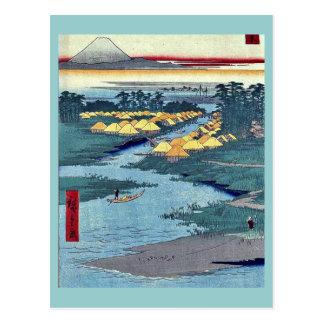 Horie and Nekozane by Ando, Hiroshige Ukiyoe Postcard