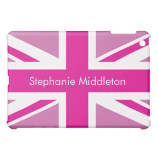 Horiz Personalized Pink UK Flag iPad Mini Case