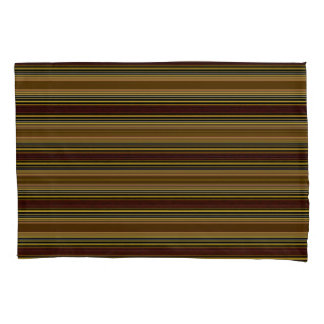 Horiz/Stripes Golds Brown Modern Pillowcase Set