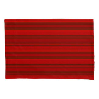 Horiz/Stripes Red Modern Pillowcase Set