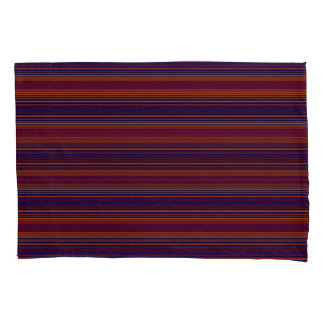 Horiz/Stripes Reds Blues Modern Pillowcase Set