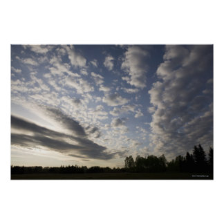 Horizon Sky View with Clouds Poster