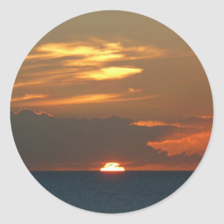 Horizon Sunset Colorful Seascape Photography Classic Round Sticker