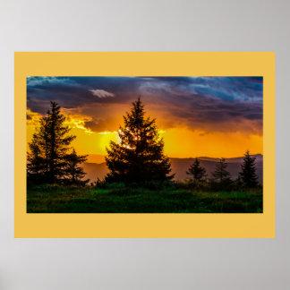 Horizon Sunset Forest Trees Park Trail Light Skies Poster