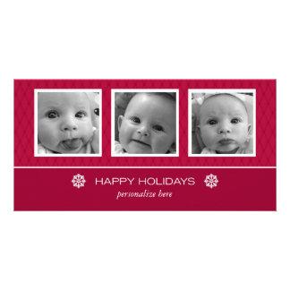 Horizontal 3-photo card personalized photo card