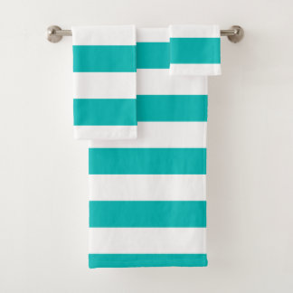 Horizontal Aqua Stripes Bath Towel Set