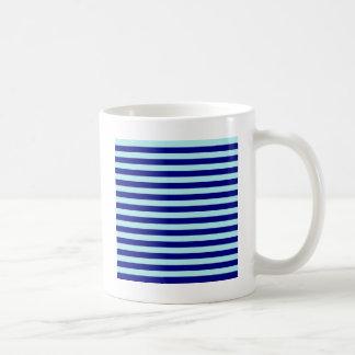 Horizontal Broad Stripes - Pale Blue and Navy Blue Basic White Mug