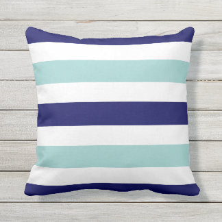 horizontal large blue (2 tones) striped throw pillow