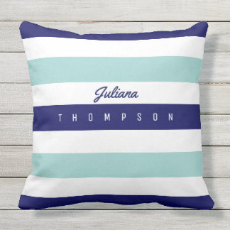 horizontal large blue (2 tones) stripes with name outdoor cushion