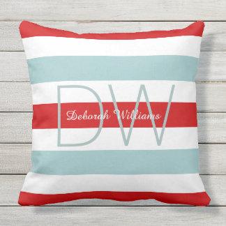 horizontal large blue red stripes & monogram cushion