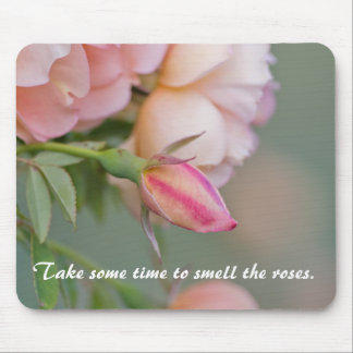 Horizontal Mousemat Pink Roses & Quote