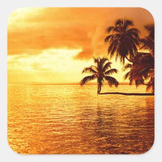 Horizontal palm tree sunset sticker