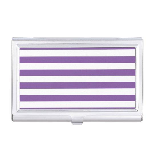 Horizontal Purple Stripes Business Card Holder