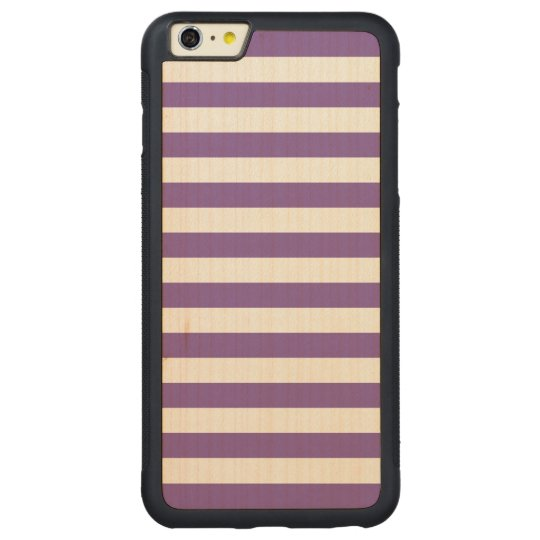 Horizontal Purple Stripes Carved Maple iPhone 6 Plus Bumper Case