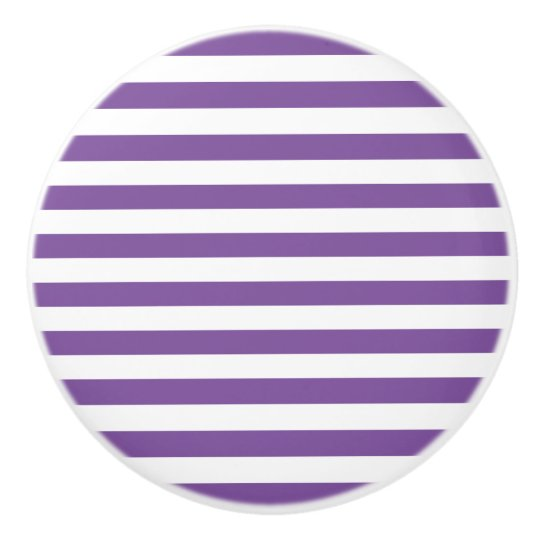 Horizontal Purple Stripes Ceramic Knob
