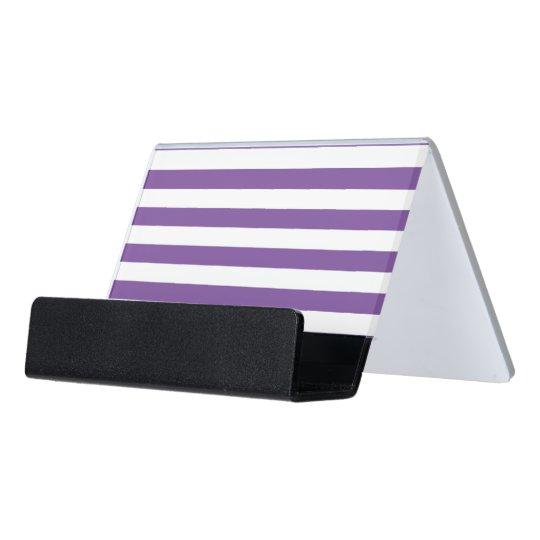 Horizontal Purple Stripes Desk Business Card Holder