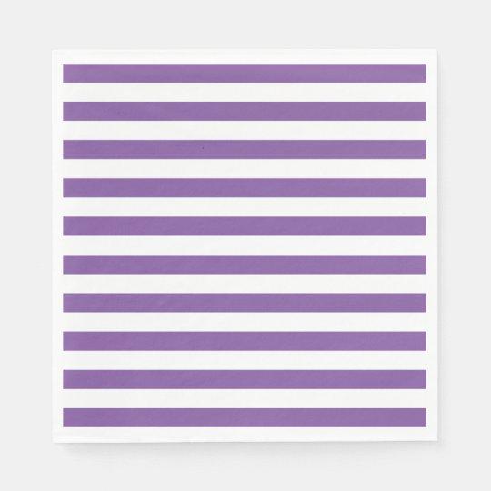 Horizontal Purple Stripes Disposable Serviette