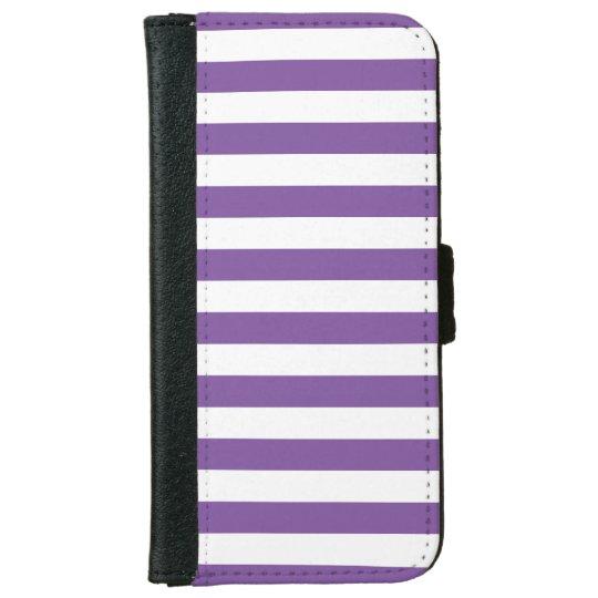Horizontal Purple Stripes iPhone 6 Wallet Case