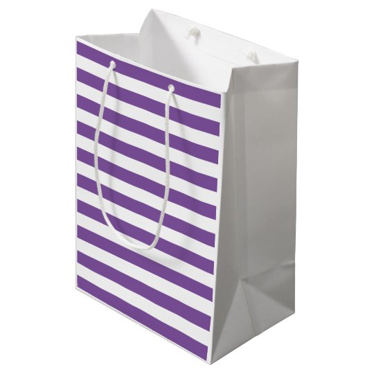 Horizontal Purple Stripes Medium Gift Bag