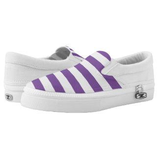 Horizontal Purple Stripes Slip-On Shoes