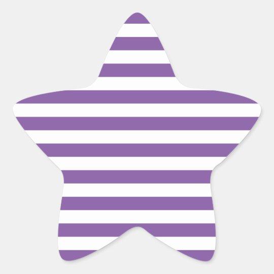 Horizontal Purple Stripes Star Sticker