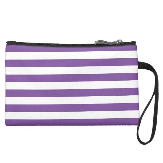Horizontal Purple Stripes Suede Wristlet