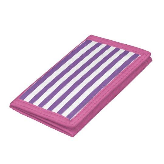 Horizontal Purple Stripes Tri-fold Wallet
