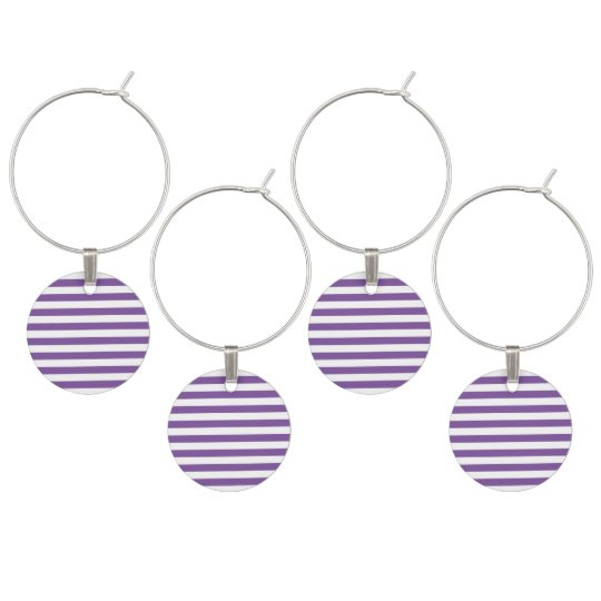 Horizontal Purple Stripes Wine Charm
