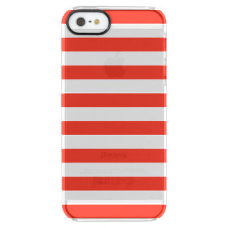 Horizontal Red Stripes Clear iPhone SE/5/5s Case