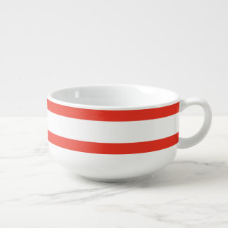 Horizontal Red Stripes Soup Mug