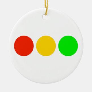 Horizontal Stoplight Colors Round Ceramic Decoration