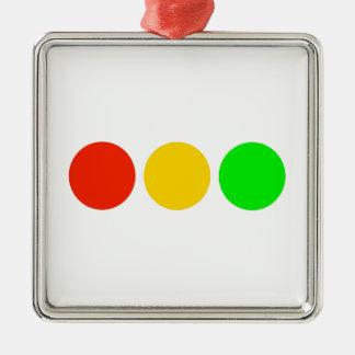 Horizontal Stoplight Colors Silver-Colored Square Decoration