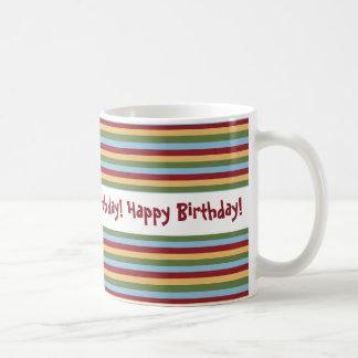 Horizontal Stripe Design Happy Birthday Basic White Mug