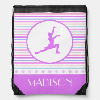 Horizontal Stripe Figure Skating with Monogram Drawstring Bag