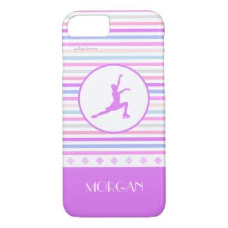 Horizontal Stripe Figure Skating with Monogram iPhone 7 Case