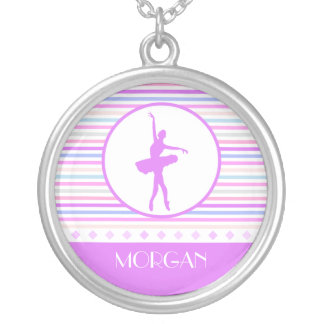 Horizontal Stripes Ballerina Dancer with Monogram Silver Plated Necklace