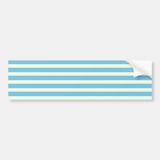 Horizontal Stripes Faded Yellow, Blue Pattern Gift Bumper Sticker