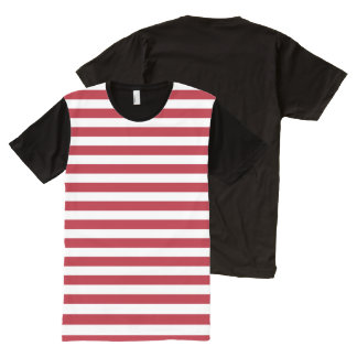 Horizontal Stripes in Red and White All-Over Print T-Shirt