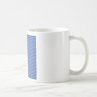 Horizontal Stripes - Pale Blue and Navy Blue Basic White Mug