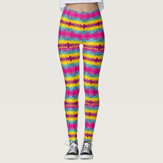 Horizontal Stripes with Bold Patterns Leggings