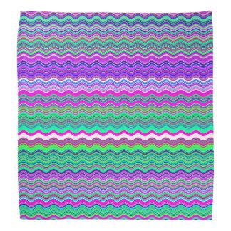 Horizontal Waves with Vivid Colors Head Kerchiefs